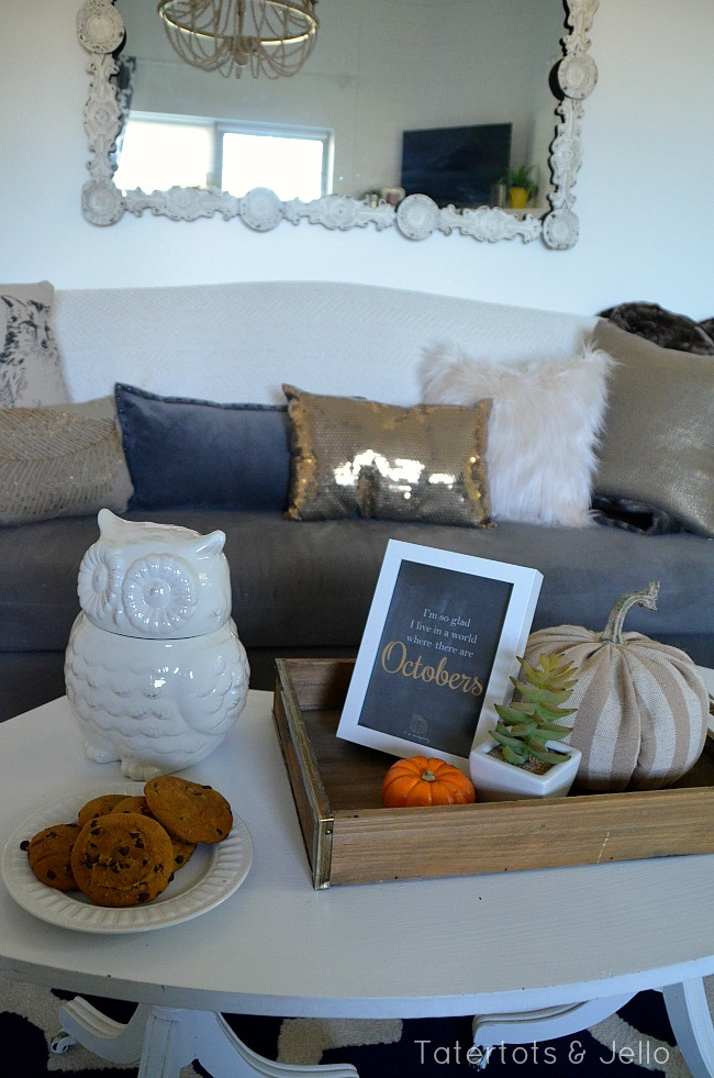 fall pillow and throw decprating at tatertots and jello