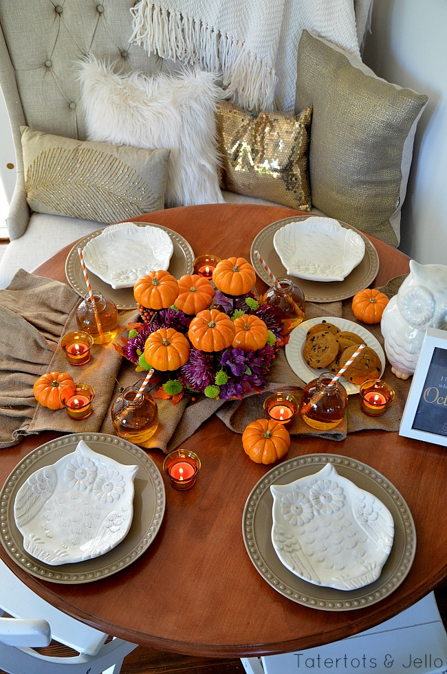 fall tablescape and pumpkin centerpiece at tatertots and jello