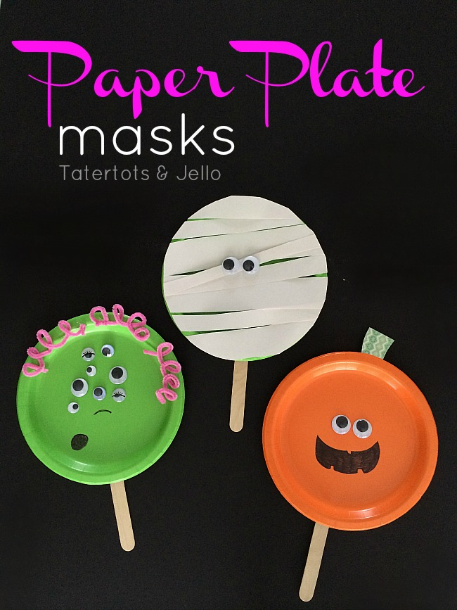 Easy Paper Plate Halloween Masks!  Tatertots and Jello - Fall Home Decor Diy