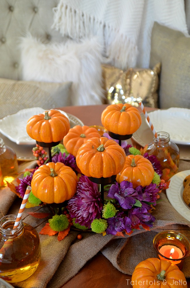 pumpkin and floral centerpiece idea at tatertots and jello