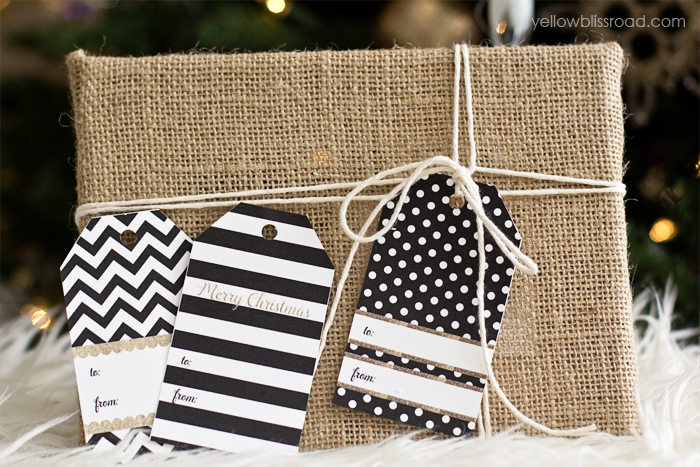 Black & White Modern Glam Gift Tag