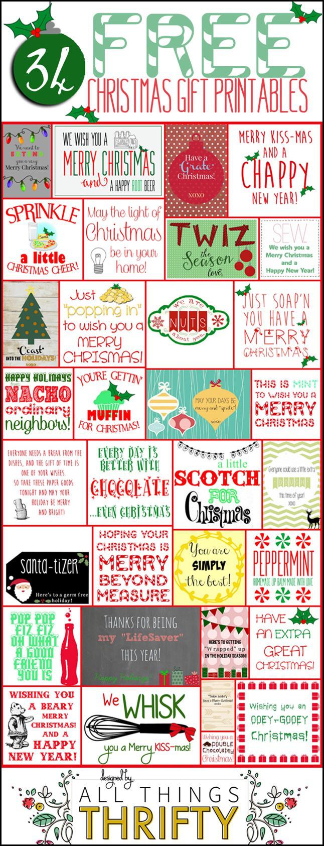 HAPPY Holidays: 34 Free Christmas Gift Tag Printables - Tatertots and Jello