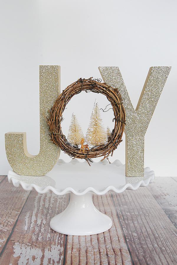 Happy holidays glittered woodland decor tatertots and jello