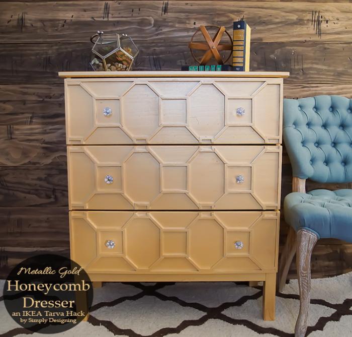 Metallic-Gold-Honeycomb-Dresser