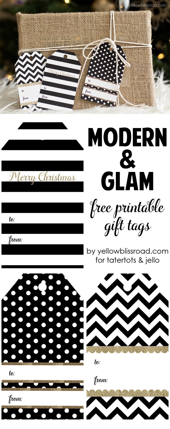 Moder Glam Free Printable Gift Tags