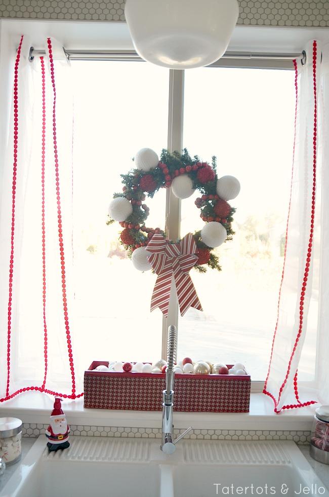 adding ribbon to sheer panels for christmas window