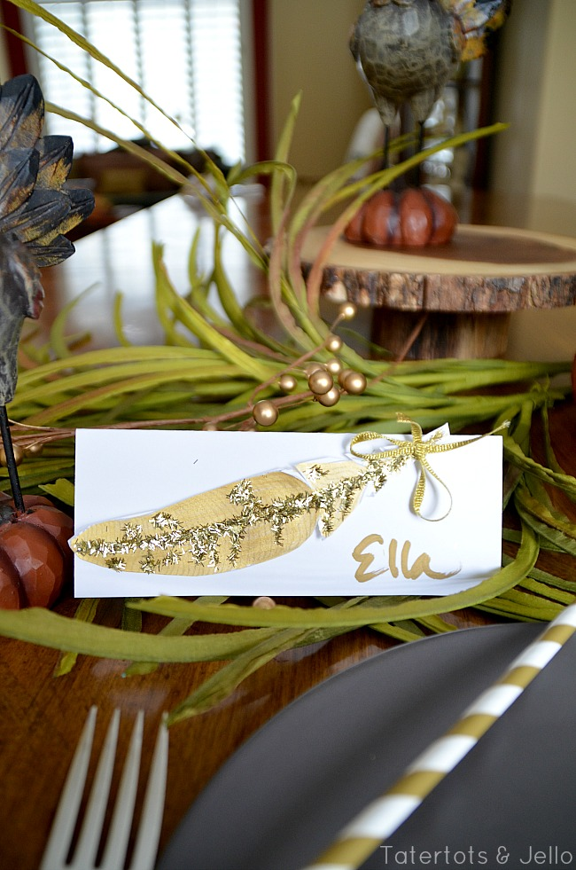 feather free printable placecards at tatertots and jello