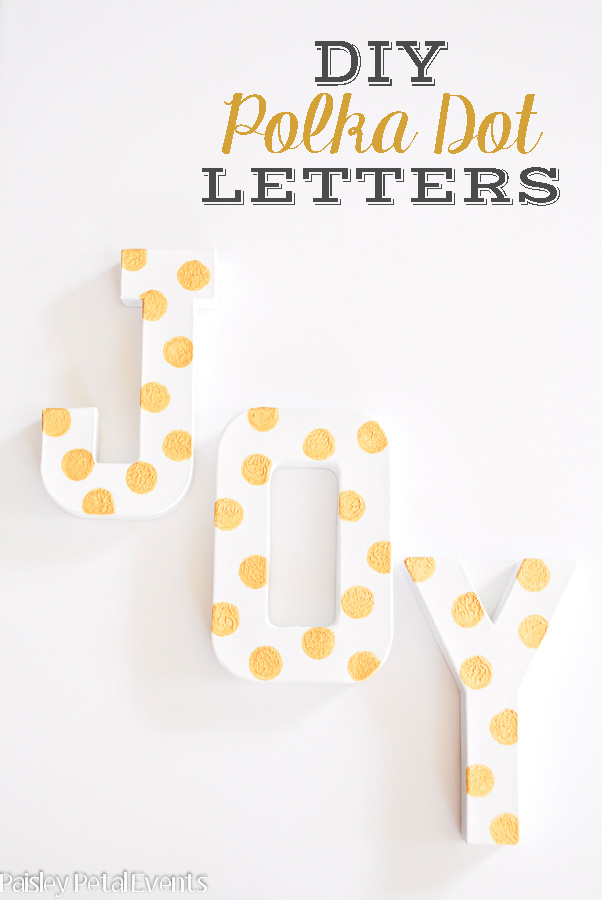 gold-polka-dots-on-paper-mache-letters-vertical