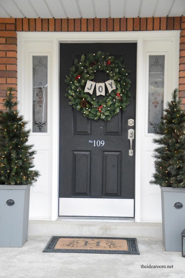 joy wreath and planters
