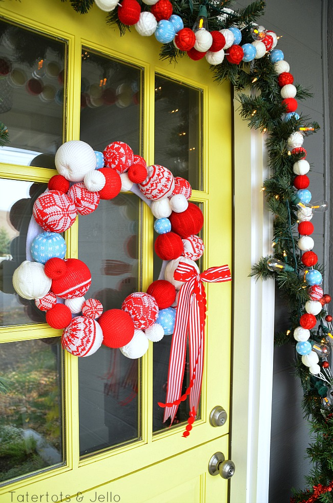 snowball wreath and front door decorating at tatertots and jello