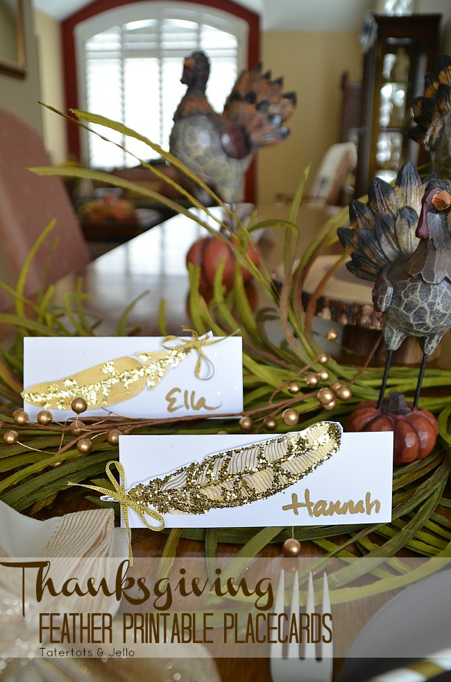 thanksgiving feather printable placecards