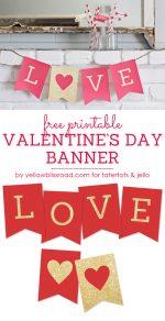 Free Printable LOVE Valentine's Day Glitter Banner