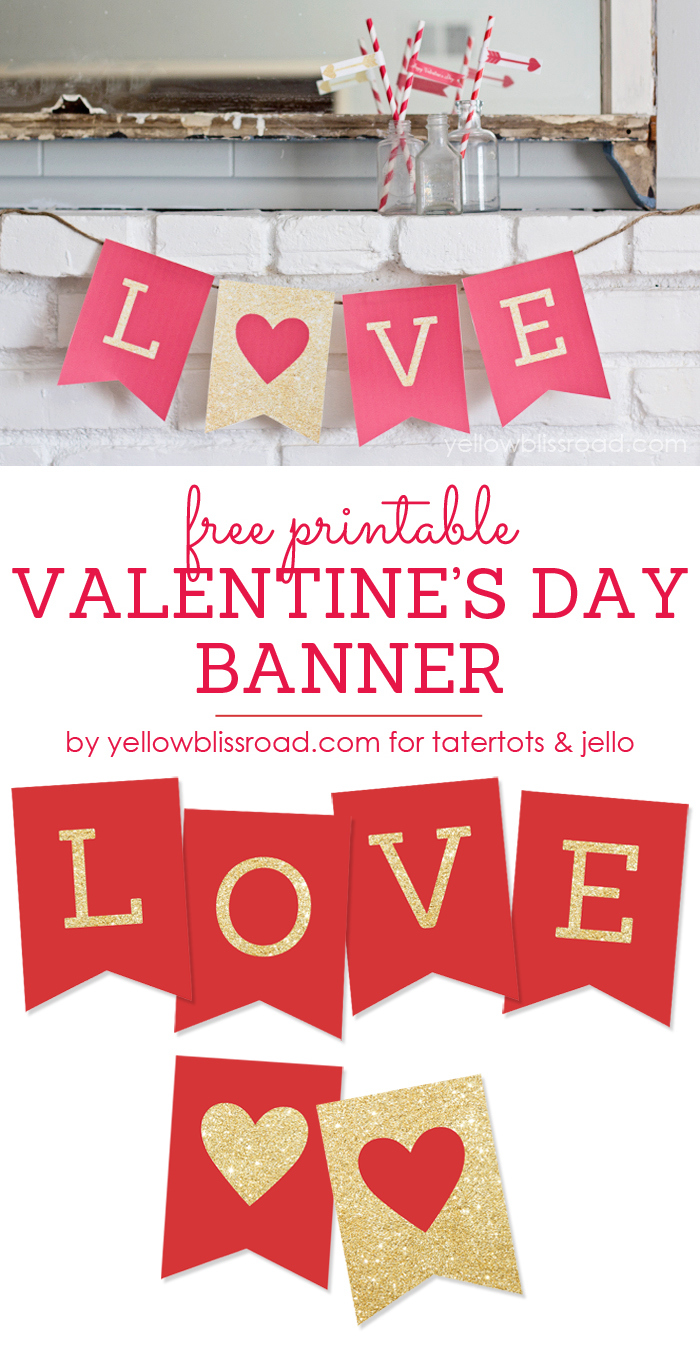 Vibrant image throughout happy valentines day banner printable
