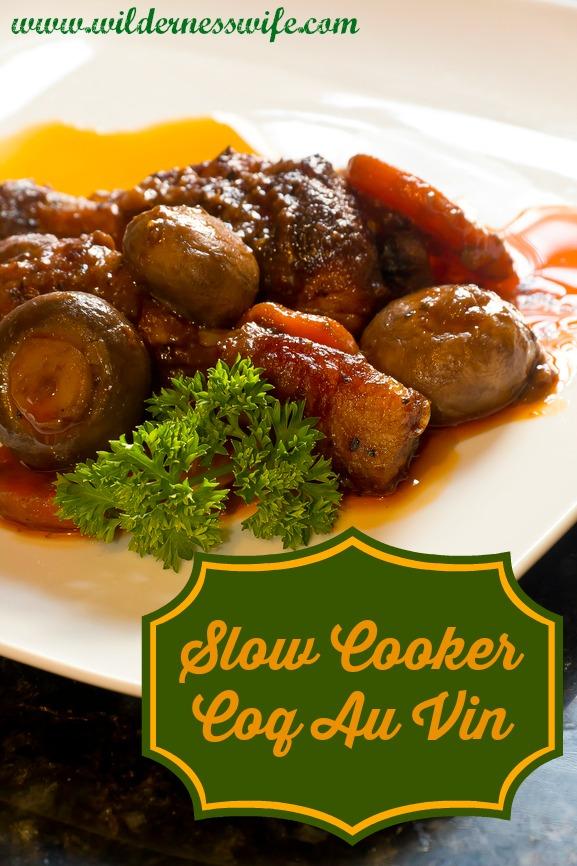 French cuisine, Coq Au Vin, crimini mushrooms, carrots, with wine sauce