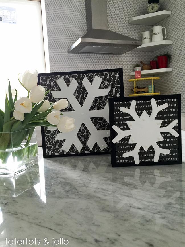 black and white snowflakes