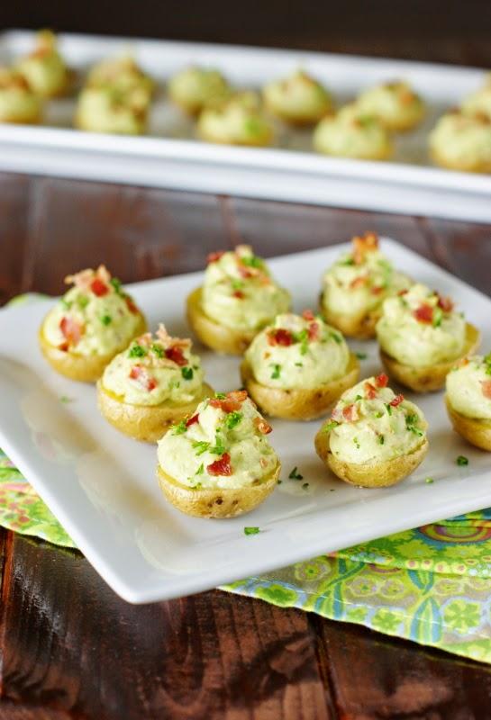 Creamy bacon guacamole potato bites for mother's day.