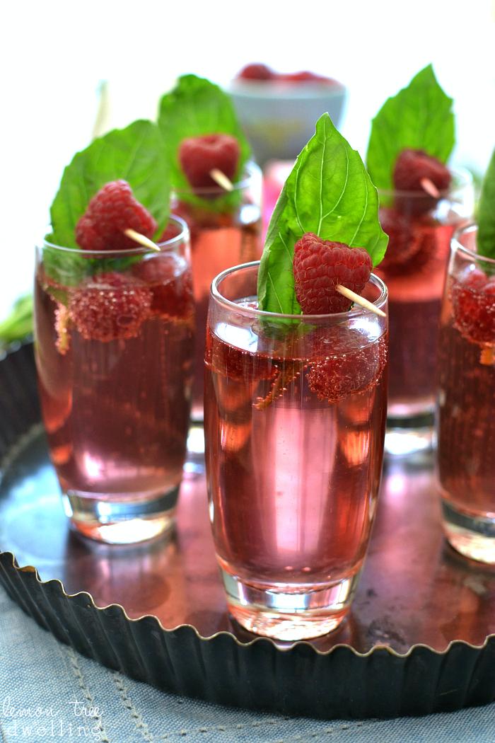 Raspberry Basil Champagne Spritzers Recipe