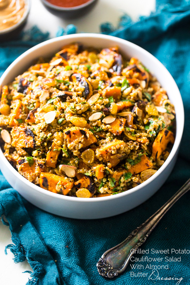 Grilled Sweet Potato Salad with Almond Butter Vinaigrette