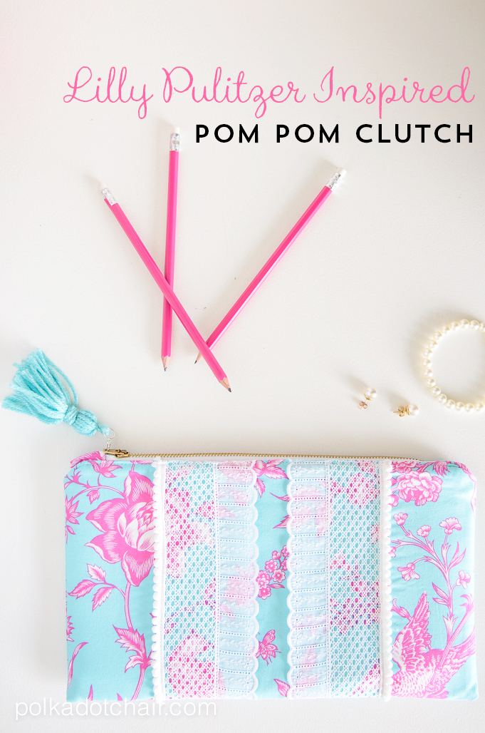 Lilly Pulitzer Inspired Pom Pom Clutch