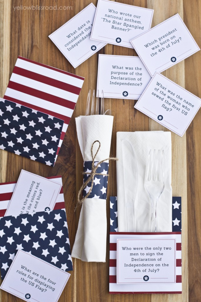 4th of July printables - Trivia cards and Utensil holders