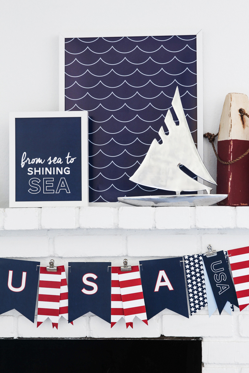 Patriotic Mantel with Free red white and blue printable banner and prints.