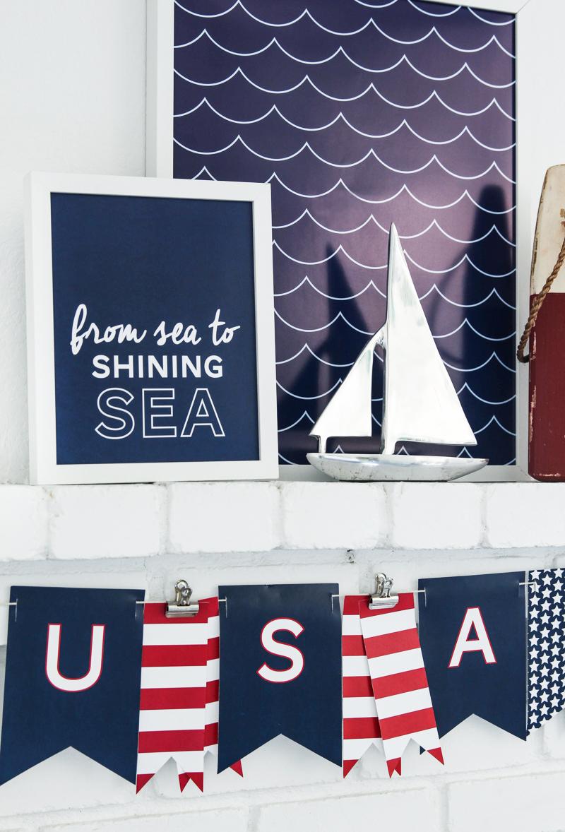 Sea-To-Shining-Sea signs and USA banner printables.