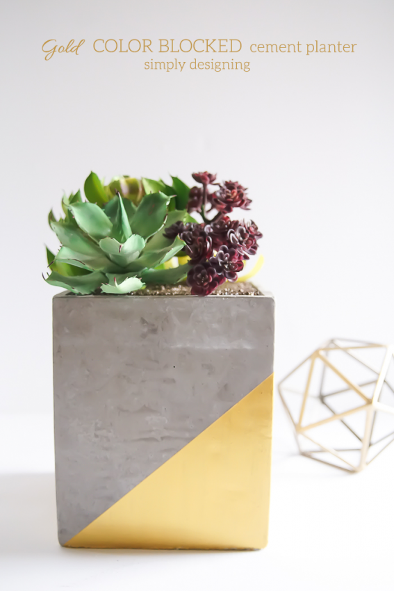 Gold-Color-Blocked-Cement-Planter-this-is-such-a-beautiful-and-modern-DIY-planter