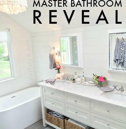 master bathroom room makeover. Modern cottage style at tatertots and jello