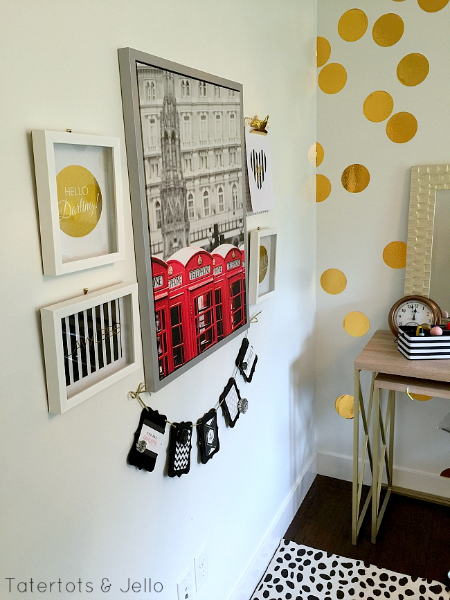 teenage black and gold bedroom and gallery wall