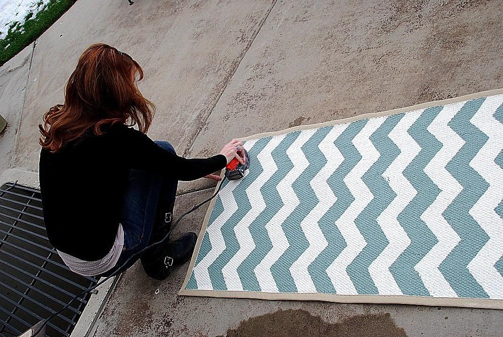 painted chevron rug