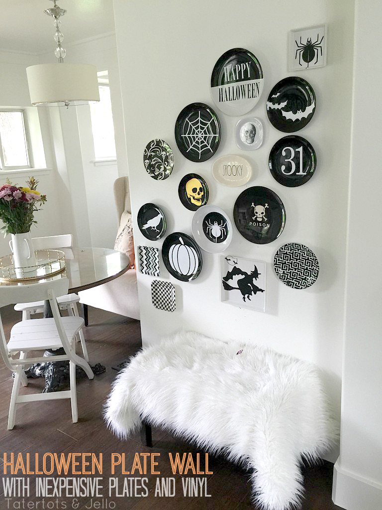 Make a halloween plate wall with inexpensive plates and for Plain white plates ikea