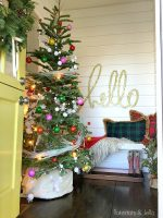 Green and White Christmas Porch and Entryway at the 1905 Cottage!