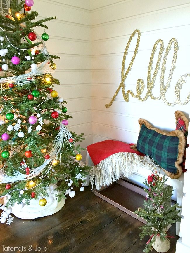 hello plaid holiday decorating