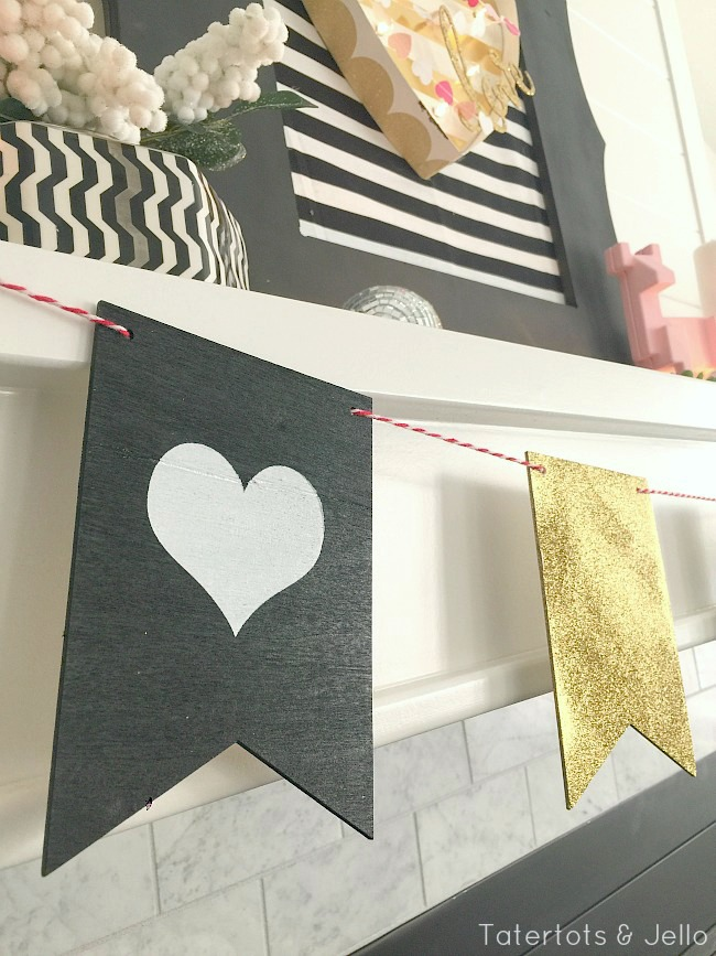 black and white valentines day wood banner