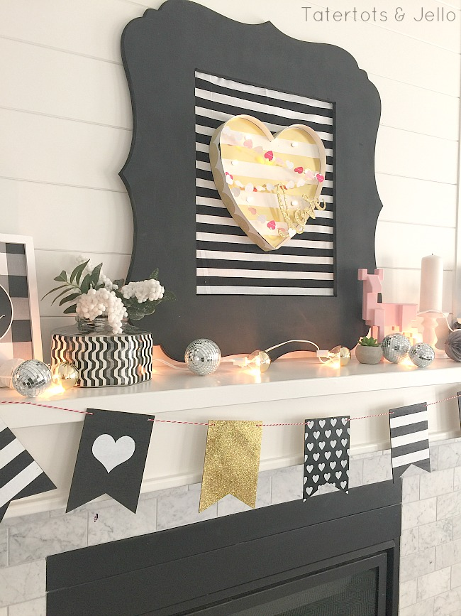 17 Farmhouse and Cottage Valentine's Day ideas. Fast and beautiful ways to bring the spirit of Valentine's Day into your home. .Black and white valentines day decor