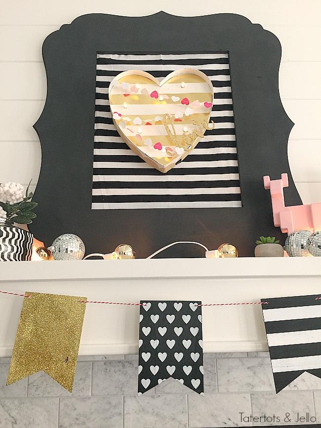 Black White and Gold Valentine's Day Decor