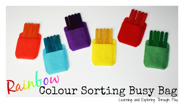 Rainbow Color Sorting Busy Bags @ Learning & Exploring Through Play