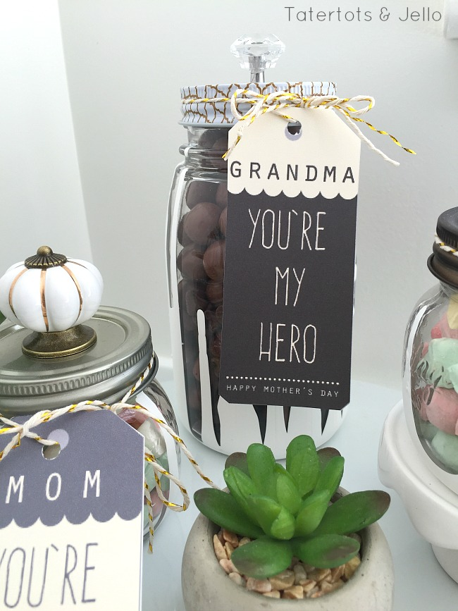 dipped mason jar gifts and mother's day printables
