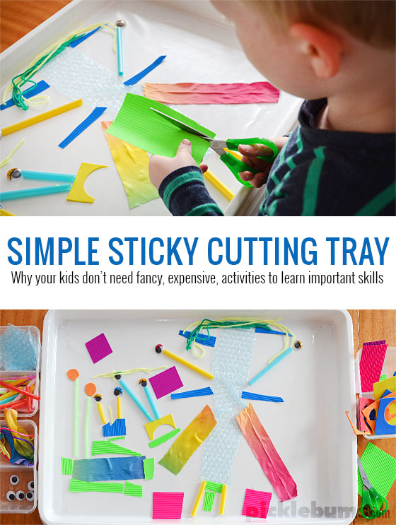 sticky-tray toddler quiet time idea