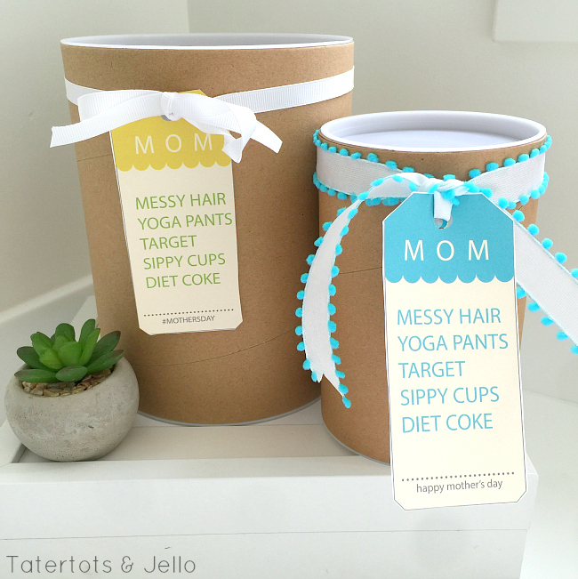 mother's day messy hair gift tags