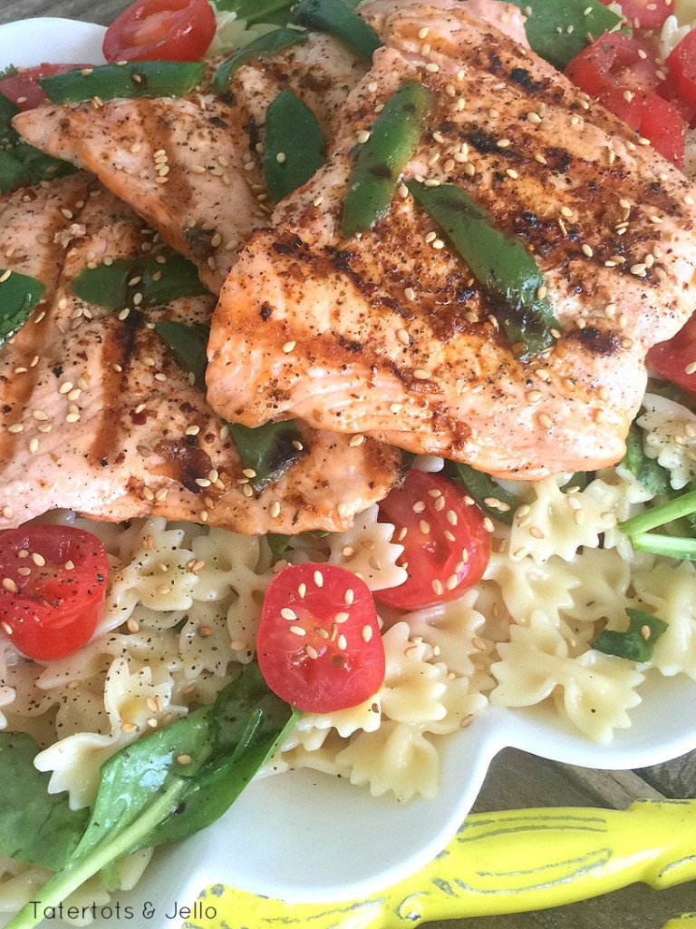 grilled salmon pasta salad with grilled salmon