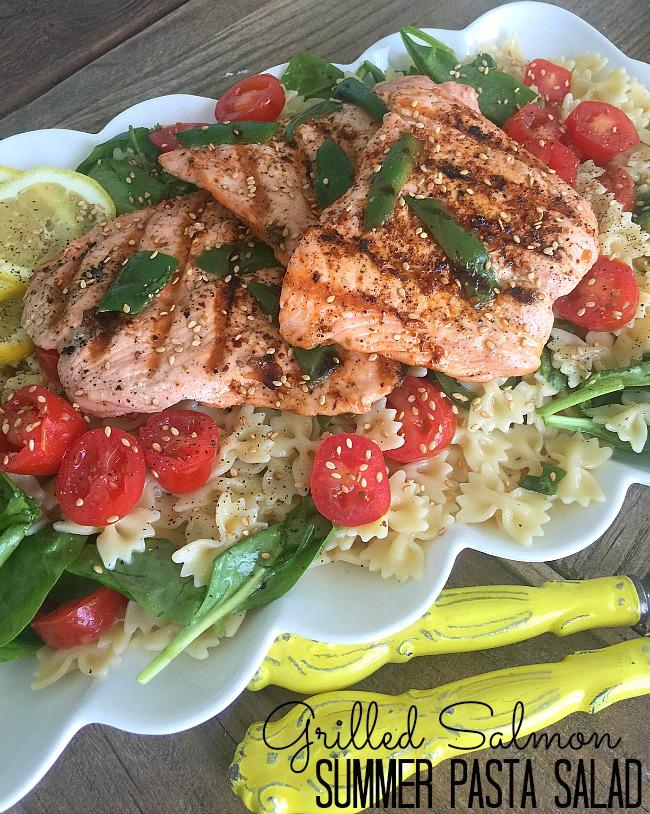 summer pasta veggie salad with grilled salmon