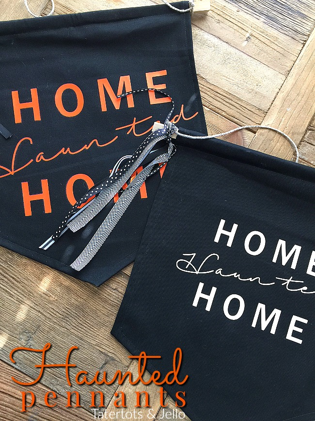 Home Haunted Home DIY Halloween Pennant. Instead of a traditional wreath, make a DIY pennant. Use heat transfer material to spell out ANY welcome or saying on your pennant!