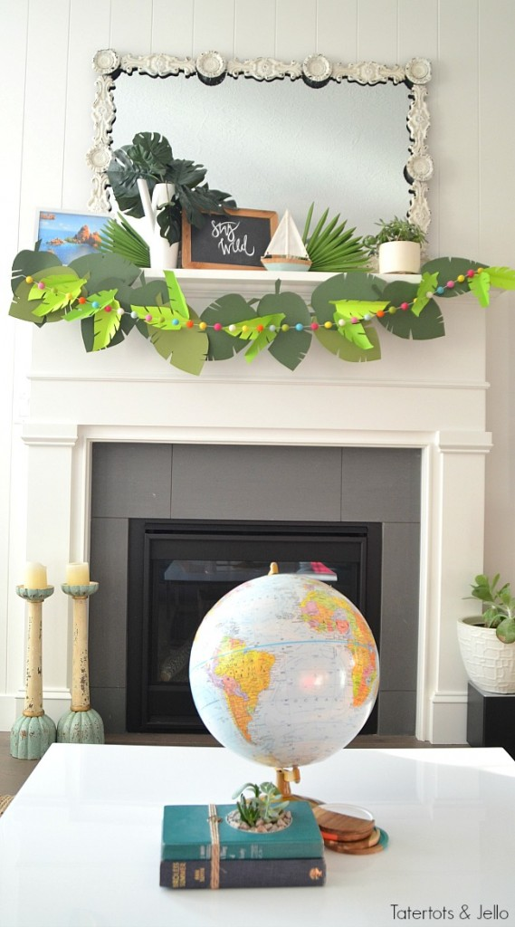 stay wild paper party garland mantel jungle party