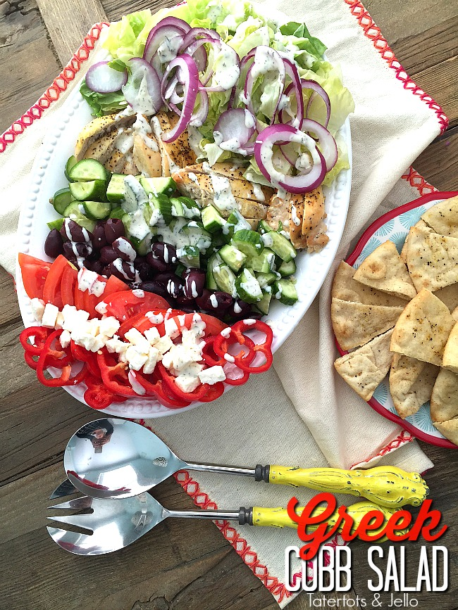 greek cobb salad with zesty chicken