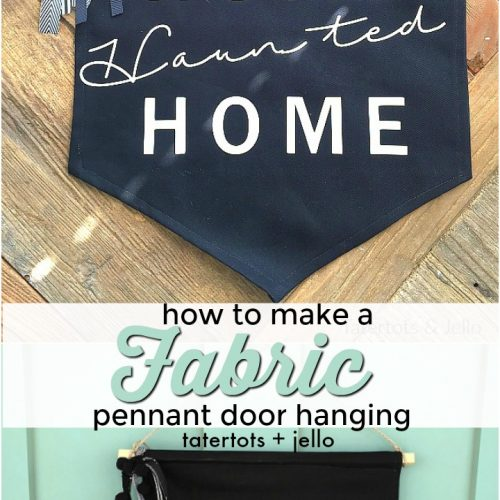 how to make a no-sew fabric pennant door hanging