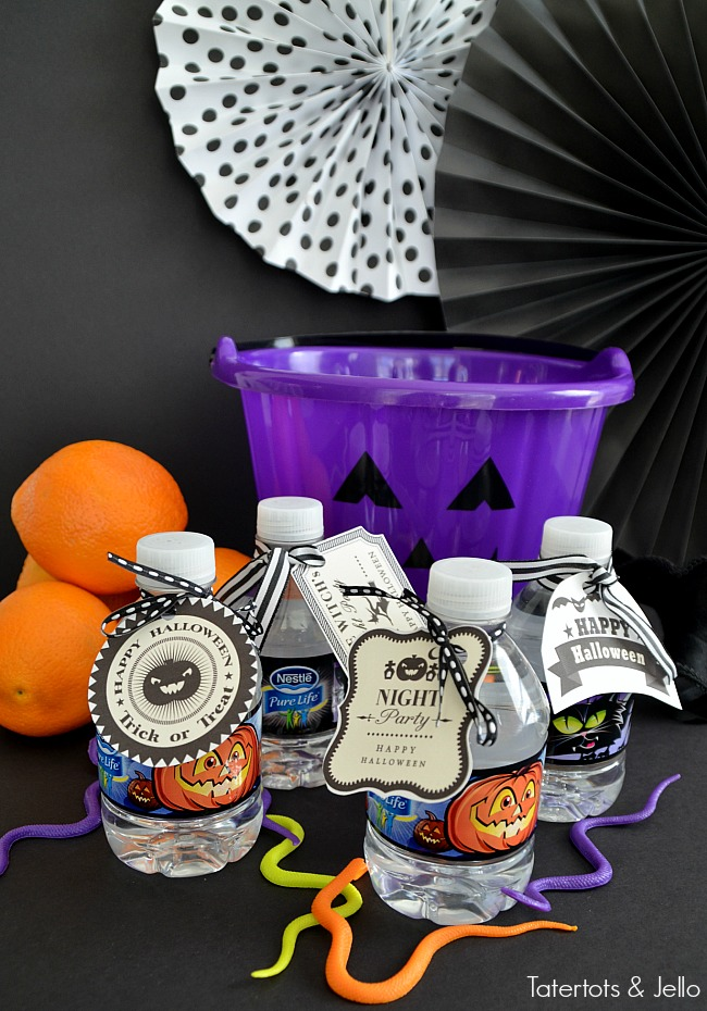 free water bottle halloween gift tags. Keep your little ones hydrated this Halloween!