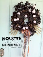 Dollar Store Halloween Monster Wreath