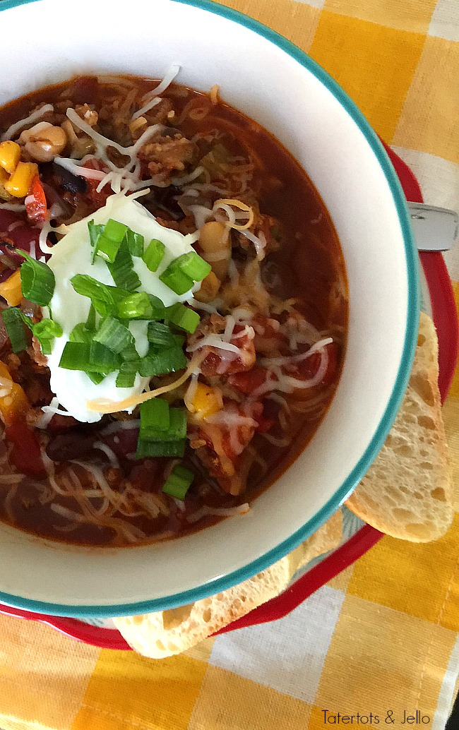 Pumpkin and Sausage Slow Cooker Chili. Easy chili recipe with a spicy flavor and creamy texture of pumpkin.