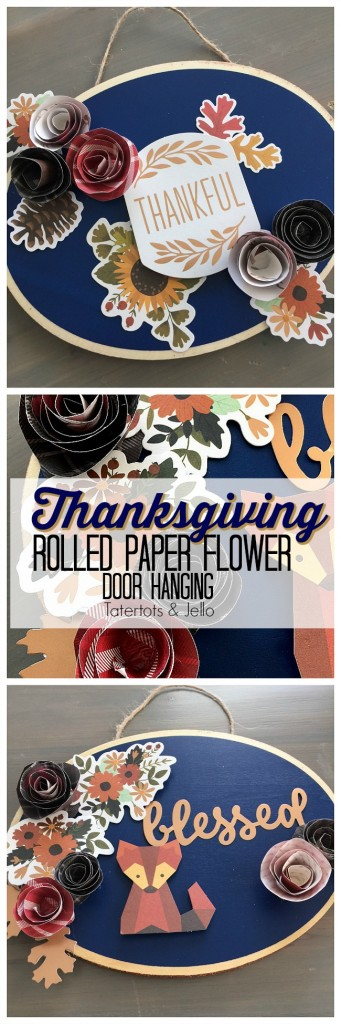 thanksgiving-rolled-paper-door-hanging-tutorial-at-tatertots-and-jello. Easy Thanksgiving Door Hanging. Make a Door Hanging with an inexpensive wood slice, paper and embellishments. Find out how easy it is to make and how to make rolled paper flowers!